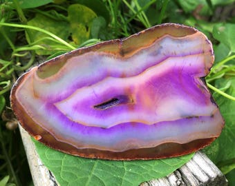 "4.1"" Polished Purple Agate Slice #10"
