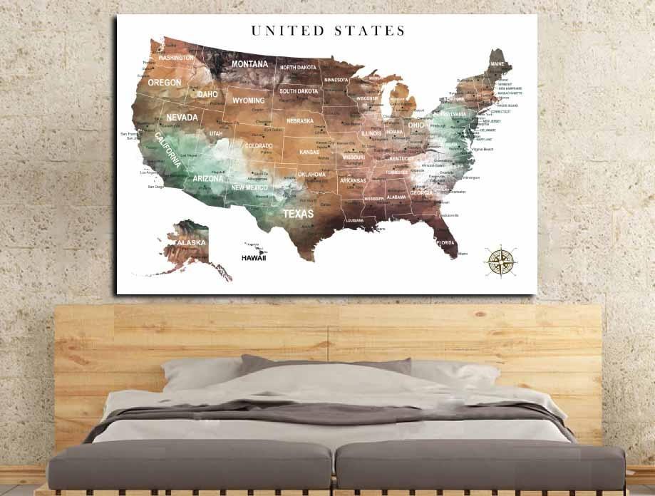 US Map Wall ArtUS Pushpin MapUS Adventure