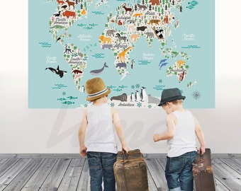 World map wall decal etsy animals world map wall decal peel and stick poster animals wall decal world map gumiabroncs Images