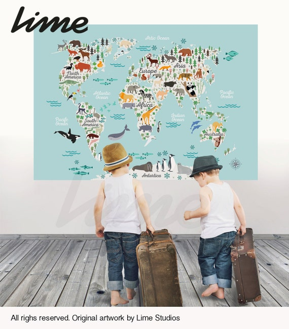 World map wall decal peel and stick vinyl or fabric gumiabroncs Gallery