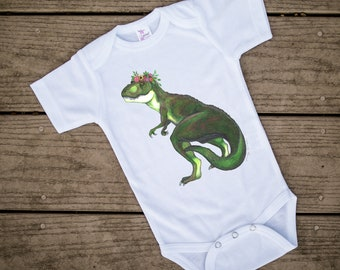 Floral, Dinosaur baby, Dino baby shower, Cute baby bodysuit, Unique baby clothes, TRex baby, Jurassic Park, Tyrannosaurus Rex, Baby Girl