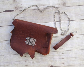 Brown Bison Leather Clutch /Crossbody Handbag with Chain & Wrist Strap - American Buffalo Boho Chic Bohemian Classic Country Western Crafted
