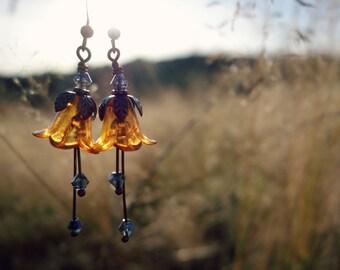 Yellow Earrings - Flower Earrings - Floral Earrings - Mustard Yellow - Bronze Earrings - Dangle Drop Earrings - Yellow Wedding - Woodland.
