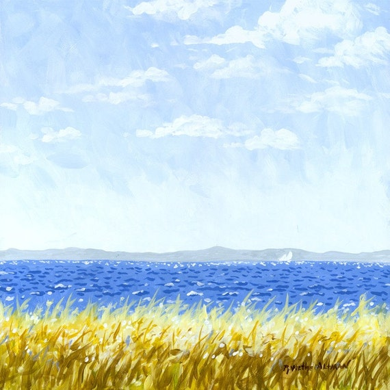Zen Ocean Painting, Relaxing Seascape, Distant Sailboat, Great Lakes, Sailboat in Ocean
