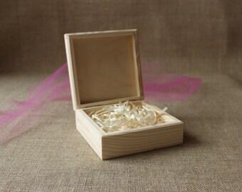 square photo box / unfinished wooden box / jewelry box / prints box