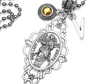 Our Lady Untier of Knots Holy Medal Filigree Pendant with Custom Birthstone & Initial Letter Charm Necklace, Virgin Mary, Blessed Mother