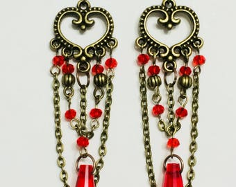 Victorian Style Red Crystal Glass Waterfall Heart Earrings