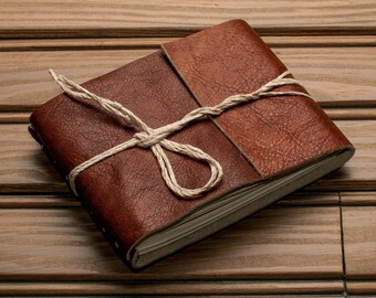 Leather Journal or Leather Sketchbook, Pocket Sized, Antique Brown Leather Handbound Notebook