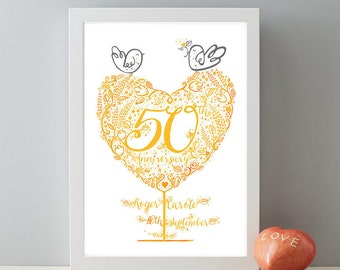 50th Golden Wedding Anniversary Gift, Personalised Golden Wedding Anniversary Gift Print