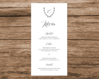 Simple Elegant Wedding Menu, Calligraphy Wedding Menu, Handwritten Wedding Menu