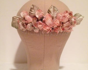 Large Pink Flower Comb