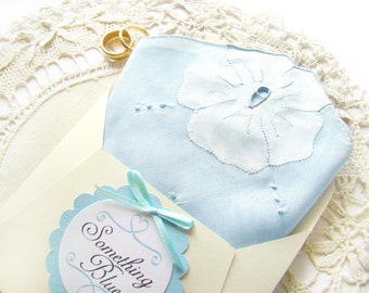 Something Blue Brides Gift Vintage Handkerchief  Something Old, Wedding Shower Gift Best Friend Gift, Wedding Gift Bridal Handkerchief