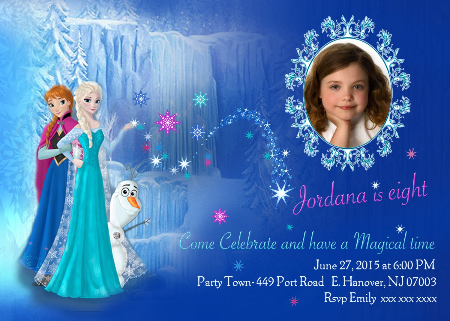 Birthday invitation card maker frozen picture ideas references zoom diy print frozen invitations frozen birthday stopboris Image collections