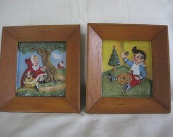 Vintage Set of 2 Fairy Tale Nursery Rhyme Frames