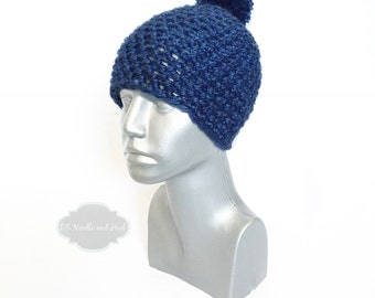 Blue Chunky Beanie with Pom, Navy Blue Crochet Hat, Winter Beanie with Puff, Knit Hat, Ski Cap