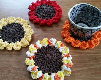 Sunflower Coaster Set / Sunflower Decor / Sunflower Coasters / Crochet Coaster Set / Flower Coaster Set / Flower Decor / Set of 4