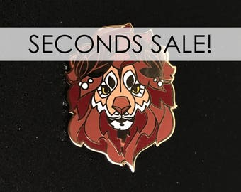 Lion hard enamel pin, discounted, SECONDS SALE