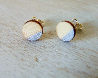 Boho bride - solid silver studs - wooden earrings - geometric design - geometric earrings - bridesmaid gift - wood earrings - wooden studs