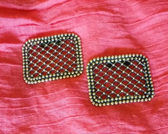 """Pair of Silver Tone and Antiquing SHOE CLIPS Weave Pattern 2 1/2"""""""