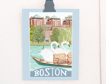 Boston, Massachusetts Travel Poster art print of an original watercolor illustration