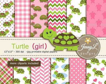 50% OFF Turtle Girl Digital Papers and Cliparts, Pink Green Turtle for Digital Scrapbooking, Birthday Party, Invitations, Planners