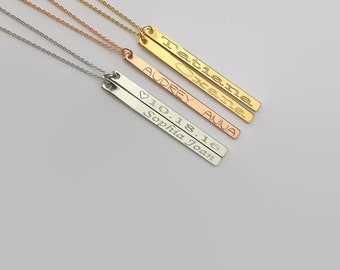 Grandma mom necklace gift, baby kid child name necklace, bridesmaid new mom baby shower gift, family tree necklace, name bar necklace