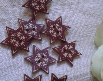 """set of 10 stars """"Snowflake"""", wooden buttons"""