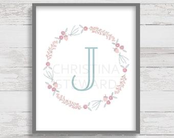 Letter J - Monogram Printable - Wall Letter - Nursery Decor - Wall Art - Floral Wreath - Home Decor - Instant Download - 8x10 Print