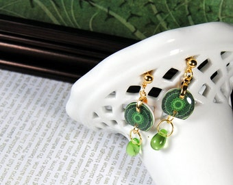 Garden greens post earrings, resin earrings, nature earrings, gifts for her, gifts under 20, small earrings