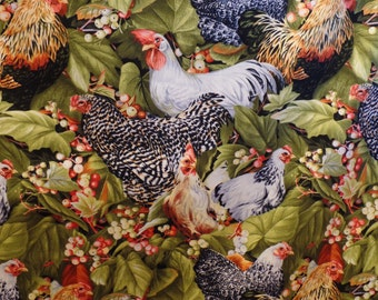 Roosters and berries and green leaves