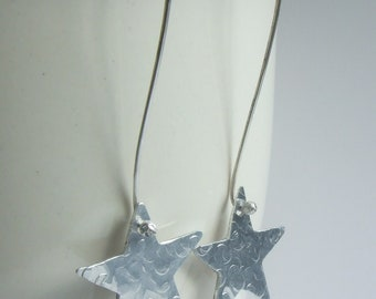 Stars - Hammer Textured Aluminium Discs Artisan Earrings with Hand Forged Long Sterling Silver Ear Wires Gift Boxed Hand Made in Wales