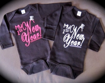 Baby's 1st New Year! gift novelty Happy New Year! BLACK