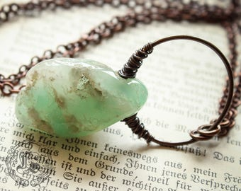 Chrysoprase Pendant Necklace Hand Forged in Copper. Verdant Nimbus