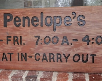 Vintage Handmade PENELOPE'S Eat in Carry Out RESTAURANT Wood SIGN  11 x 30 ins. c1980s