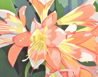 Clivia in Bloom, limited edition serigraph