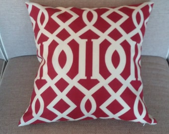 Two 20 x 20  Designer Decorative Pillow Covers for Indoor/Outdoor - Trellis - Red