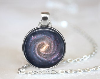Spiral Galaxy Glass Pendant, Photo Glass Necklace, Glass Keychain, Glass Jewelry