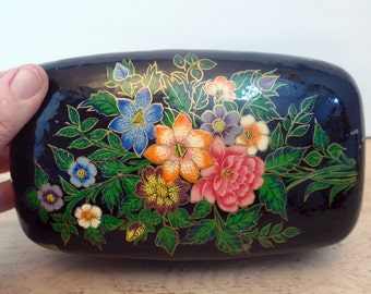 Vintage Large Oval Black Lacquer Jewelry Trinket Box Hand Painted - Shabby Chic Colorful Flowers on Black Lacquer