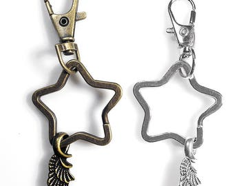His and Hers star in heaven keychain, lobster clasp flat ring keychain