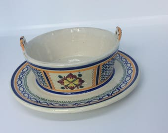 French Faience Quimper Butter Dish, Signed Henriot Quimper