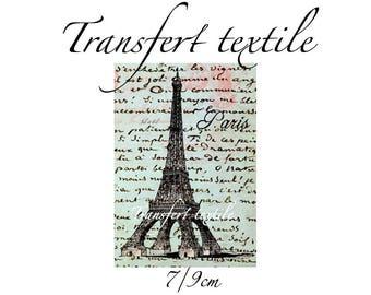 Transfer textile vintage retro eiffel tower on manuscript 7 / 9cm