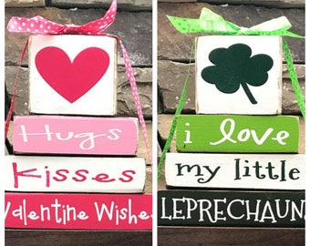 "REVERSIBLE Valentine's and ST. Patrick's""MINI"" stacker-I love my little Leprechauns  reverses with Valentine Wishes"
