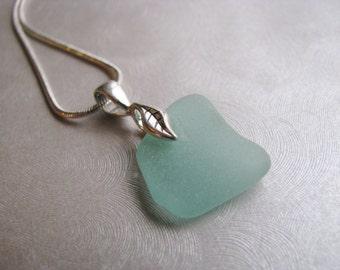 Statement Small Aqua Blue Sea Glass Necklace - Beach Glass Necklace - Beach Glass Jewelry