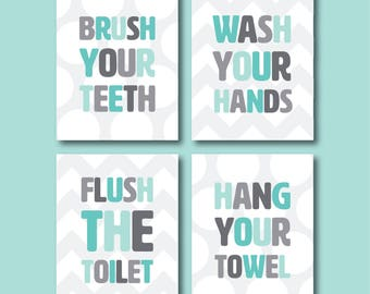 Bathroom Art Set - Kids Bathroom Set - Printable Art - Wash Your Hands - Brush Your Teeth - Bathroom Wall Art -  Bathroom Rules - Grey Blue