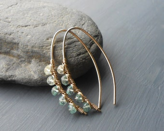 Wire Wrapped Green Fluorite Gold Filled Oval Threader Hoops