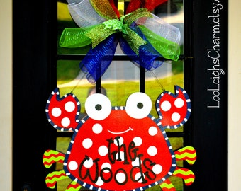 Crab Door Hanger | Crab Party | Crab Wreath | Beach Wreath for Front Door | Beach Party | Pool Decor | Luau Party | Pool Party Summer Wreath