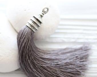 Silver cap gray silk tassel, long silk tassel, tassel pendant, silver tassel cap, grey tassel, jewelry tassels, large, mala tassel, N2