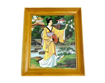 Vintage Large Framed Geisha Paint By Number (E8183)