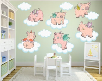 Pig Wall Decals, Piglet Wall Decals, Pig Nursery Decor, Pig Theme Decor, Flying Pigs, Piglet Nursery, Pig Theme Kids Room, Pig Wall Art