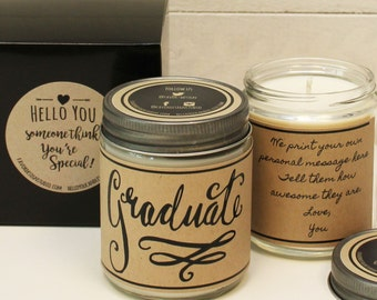 Graduate Soy Candle Gift - Personalized Graduation Gift | Class of 2016 Gift | Graduation Card | Class of 2016 Card | Scente Candle